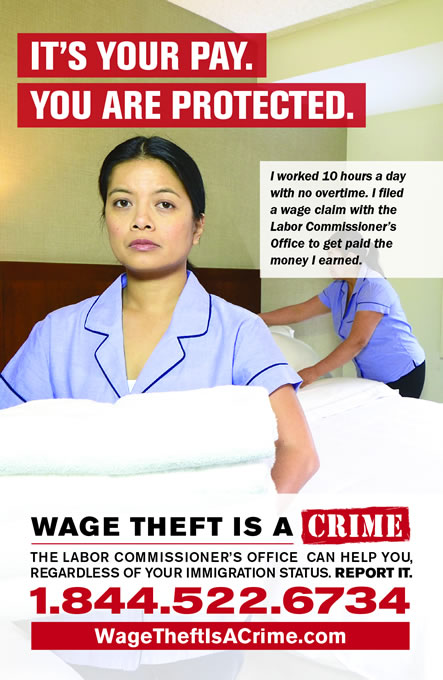 Wage Theft Campaign poster.
